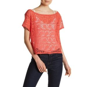 Michael Stars Sheer Lace Crop Top Blouse
